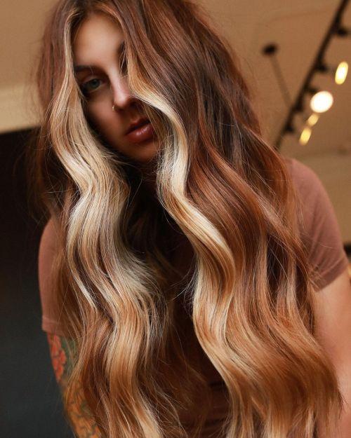 Light Copper Hair with Chunky Streaks