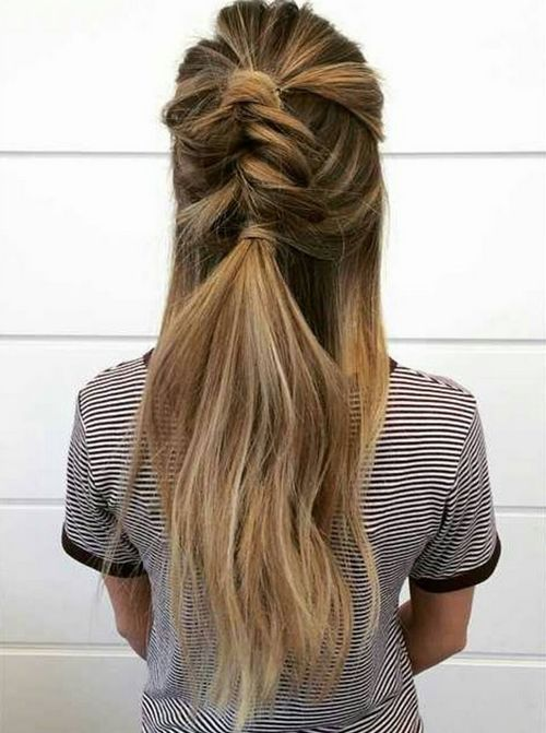 half updo with messy fishtail
