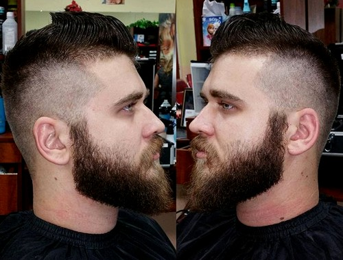 high fade with full beard