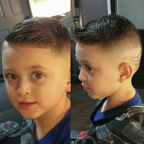 shaved sides little boys hairstyle with shaved designs