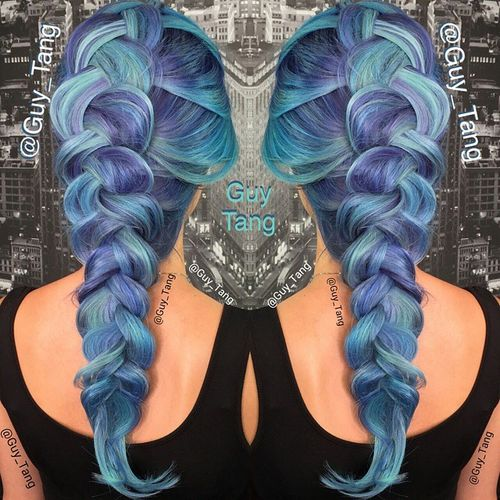 pastel blue hair with purple highlights