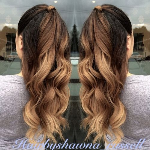 half ponytail for ombre hair