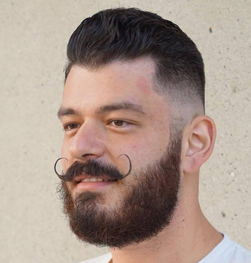 taper fade, beard and handlebar moustache