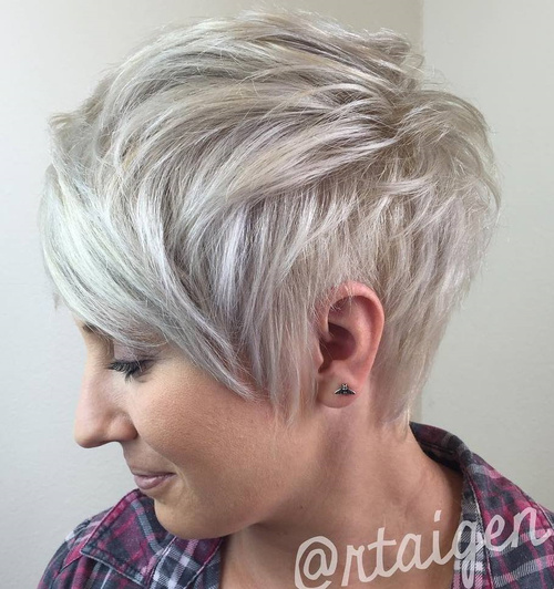 Ash Blonde Layered Pixie