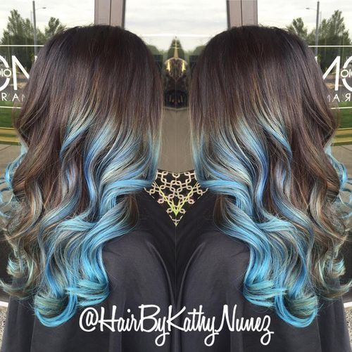 brown hair color styles 20 pastel blue hair color ideas you to try 4507 | 9 blue and brown ombre curls