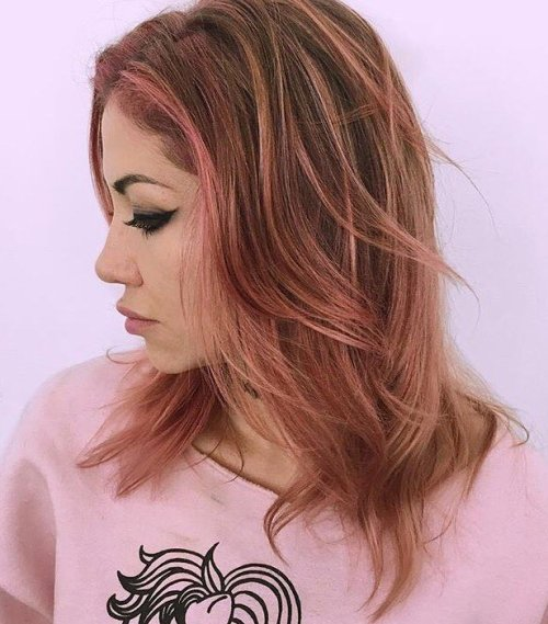 Medium Brown Hair With Pink Highlights