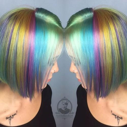 pastel rainbow bob