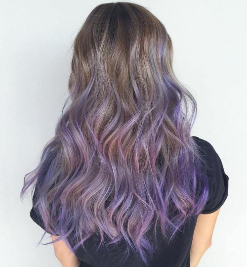 Lavender Balayage For Long Light Brown Hair