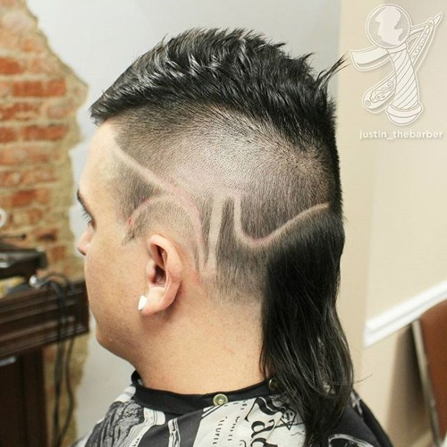 mullet with shaved deigns
