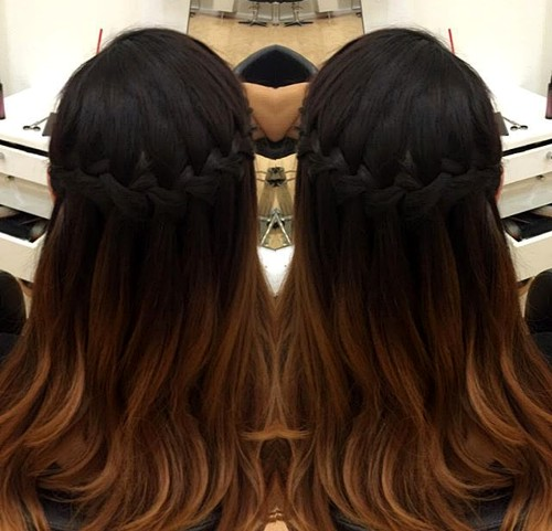 braided half updo for brunette ombre hair