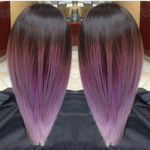 dark brown to lavender ombre