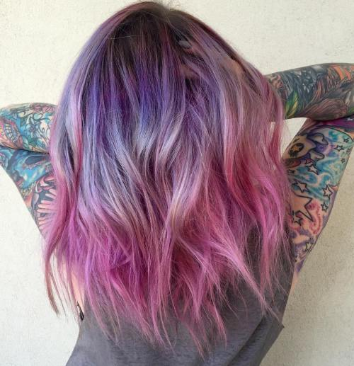 The prettiest pastel purple hair ideas medium length purple to pink ombre hair urmus Choice Image