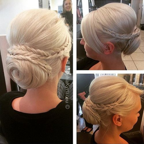 platinum blonde bun with braids and bouffant