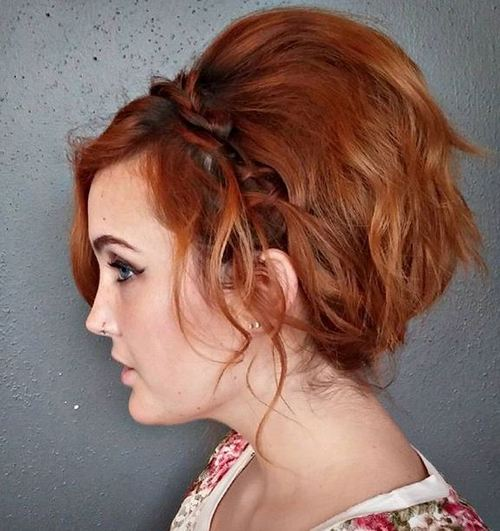 red messy wavy updo