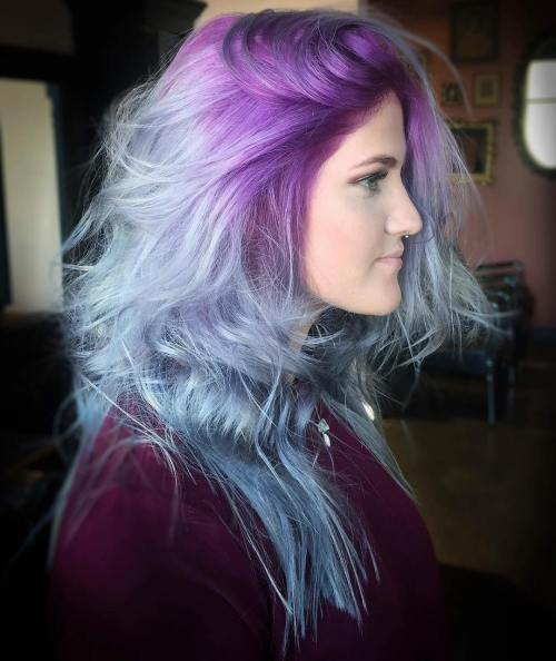 Pastel Blue Hair With Lavender Roots