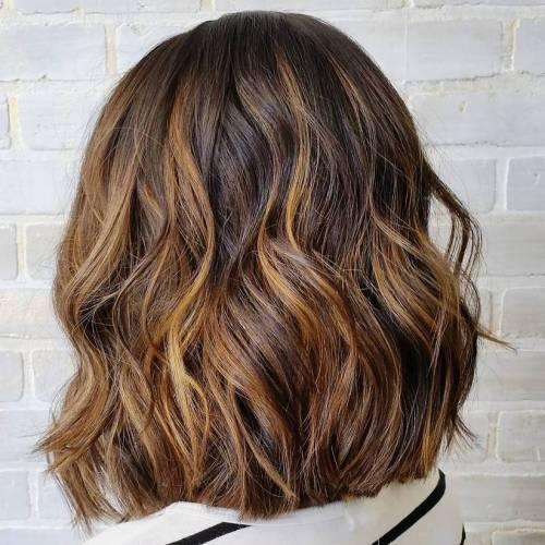 Brown Bob With Golden Blonde Balayage