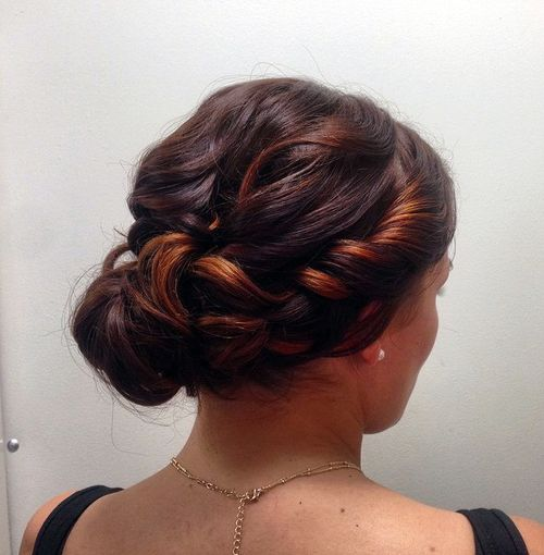 creative chignon for curled hair