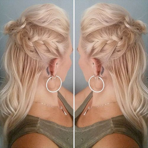 braided wavy half updo
