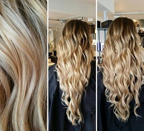 long blonde V cut