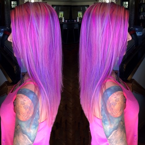 violet hair with pink and platinum highlights