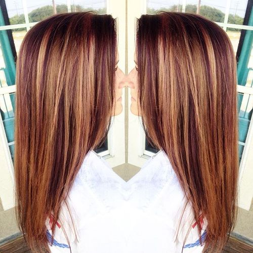 60 auburn hair colors to emphasize your individuality purple red hair with caramel highlights pmusecretfo Choice Image