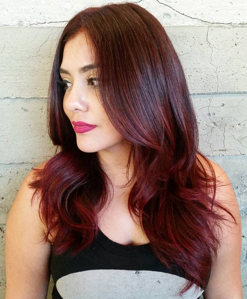 burgundy balayage hair