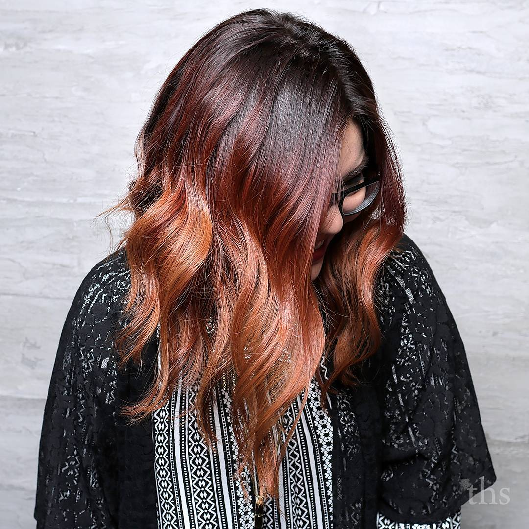 Burgundy And Auburn Balayage Hair