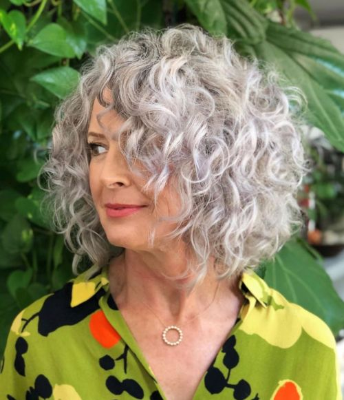 Gray Perm Lob With Loose Curls