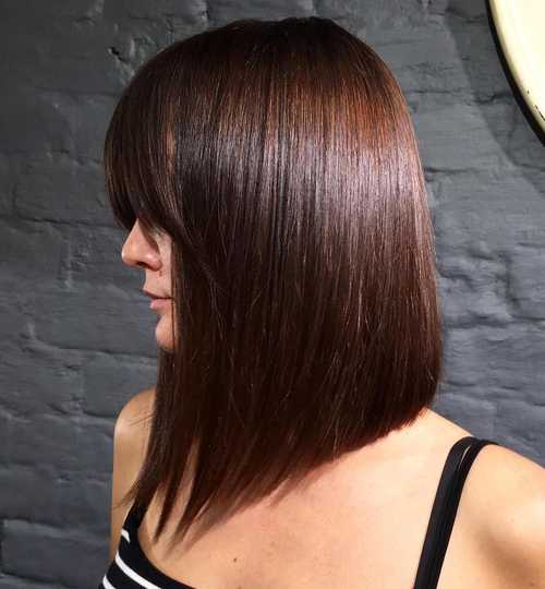 long angled bob with bangs