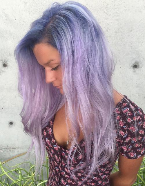 Long Pastel Purple Hair With Blue Roots
