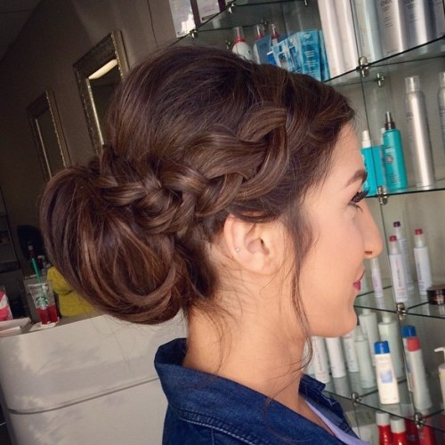 Low Bun With A Side Braid
