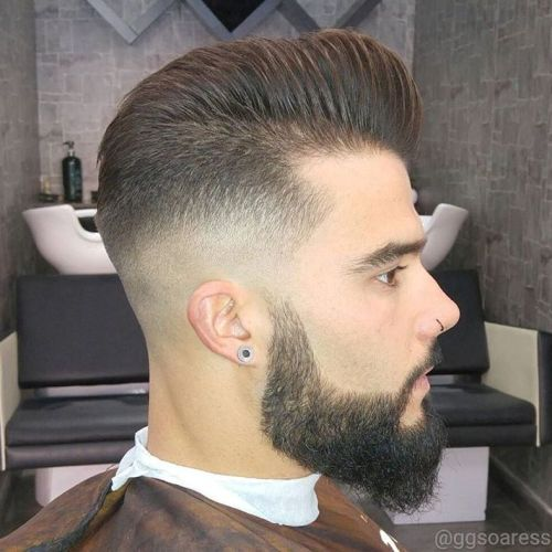 Pompadour With Skin Fade And Beard