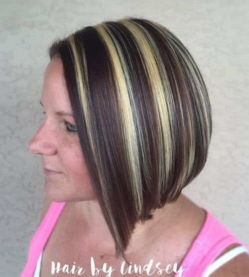 20 best hair color ideas in the world of chunky highlights angled bob with triple threat pmusecretfo Images