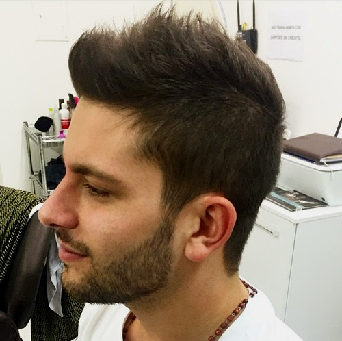 men's fauxhawk with facial hairstyle