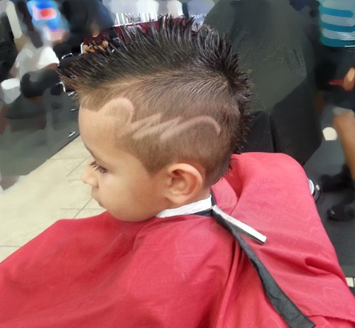 Delightful Mohawk For Kids With Shaved Design On The Sides