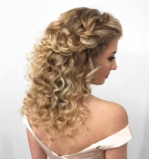 Braided Curly Half Updo