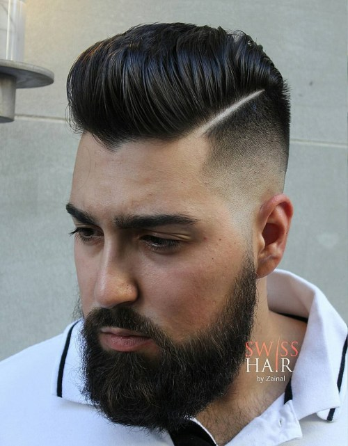 high shiny pompadour with shaved side parts