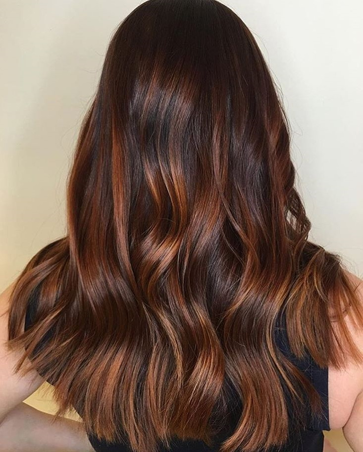 dark brown hair with caramel ombre highlights