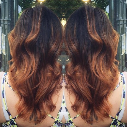 black hair with chestnut ombre highlights