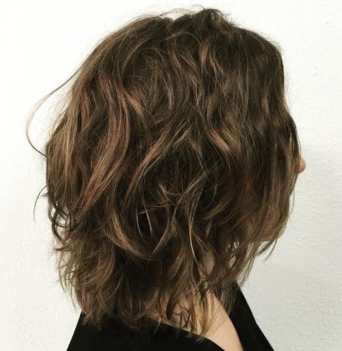 Messy Brown Long Bob