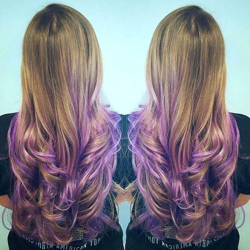 brown to lavender ombre for long hair