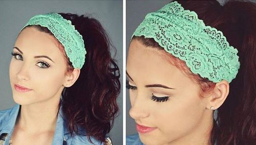 wavy ponytail with a lace headband