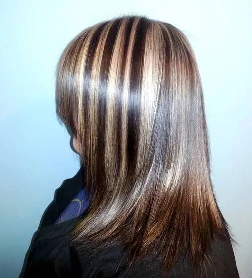 straight brown hair with chunky blonde highlights