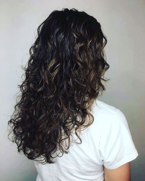 Long Shiny Spiral Perm Hairstyle