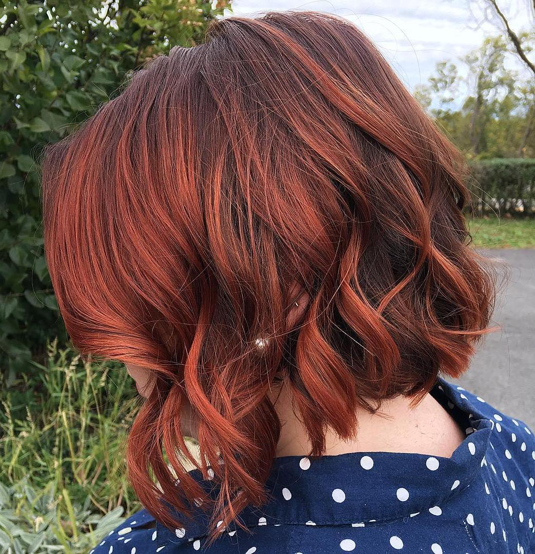 Brown Bob With Copper Red Balayage