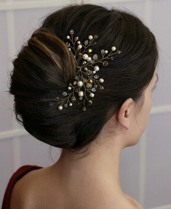 french twist wedding updo for brunettes