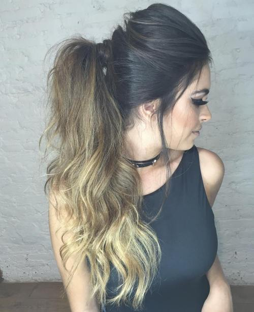 Long Tousled Ponytail With A Bouffant