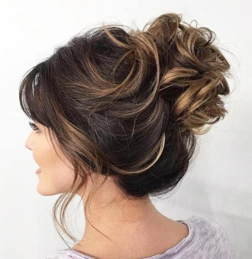 Loose Curly Bun Updo