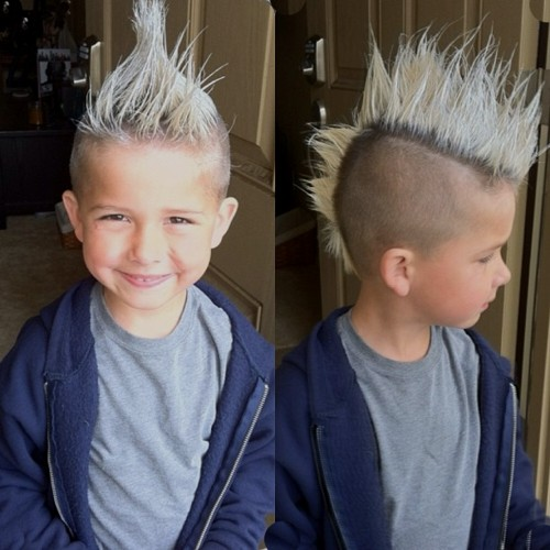 long blonde mohawk with shaved sides for boys