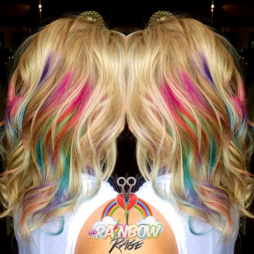 blonde hair with rainbow highlights